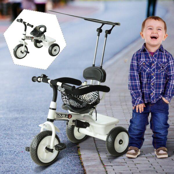 Triciclo passeggino bambini con parasole