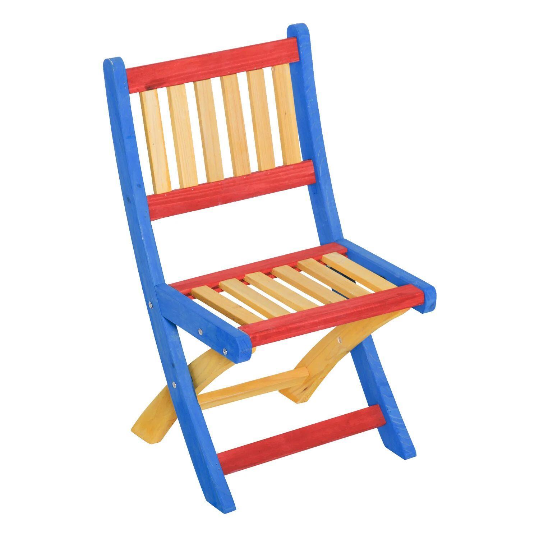 Tavolo bambini colorato con 4 sedie pieghevoli in legno ...