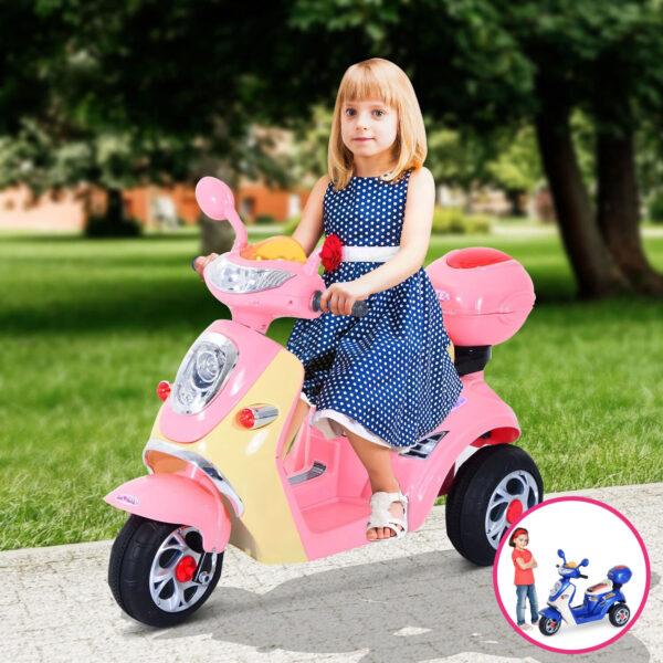 Moto elettrica per bambini modello scooter con tre ruote e bauletto