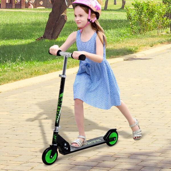 Homcom Monopattino per Bambini Pieghevole in Alluminio, Nero e Verde
