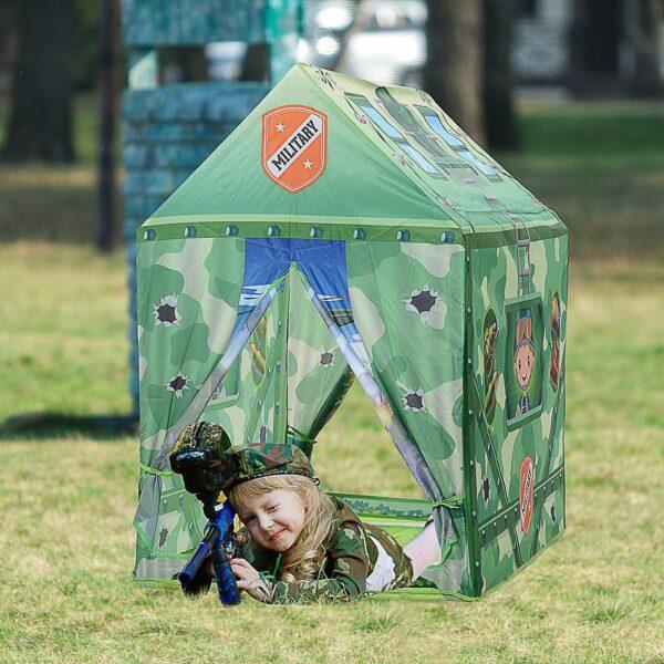 Homcom Tenda Gioco Mimetica per Bambini 3+ Anni per Interno e Esterno Verde 93x69x103cm