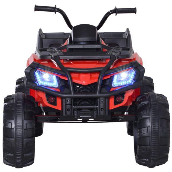 Homcom Mini Quad Elettrico Giocattolo per Bambini con Luci e Suoni e Ammortizzatori Rosso