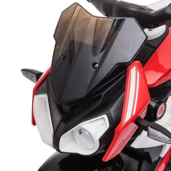 HOMCOM Moto Elettrica per 3-8 anni con fari musica batteria caricabatteria 13km/h rosso