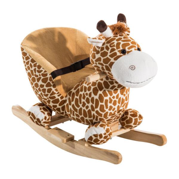 Dondolo in Legno Giraffa per Bambini in Morbido Peluche con Suoni