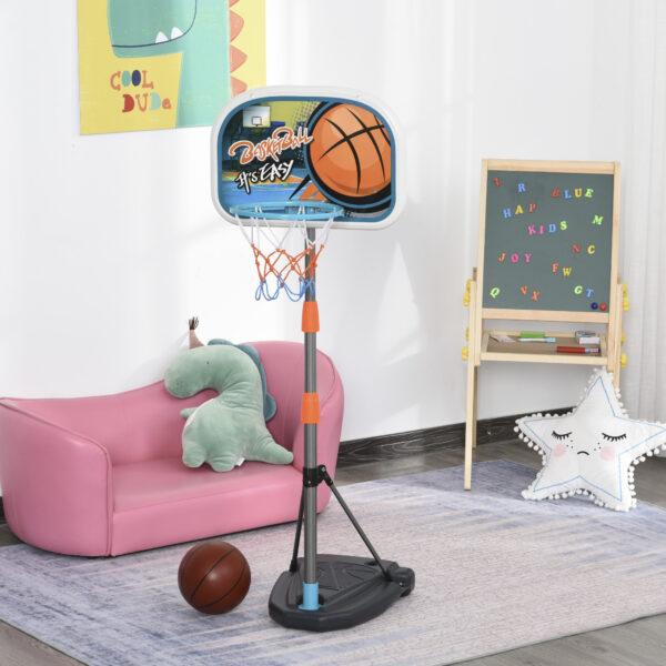 Set Canestro per Bambini Regolabile in Altezza con Palla da Basket Base e Pompa Gonfiaggio Inclusi