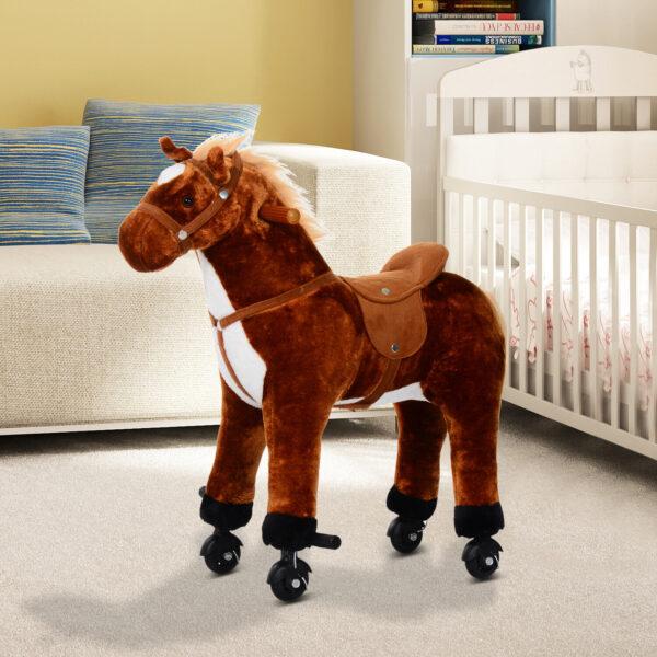 Cavallo Cavalcabile in Peluche Giocattolo con Suoni e Ruote per Bambini, Marrone