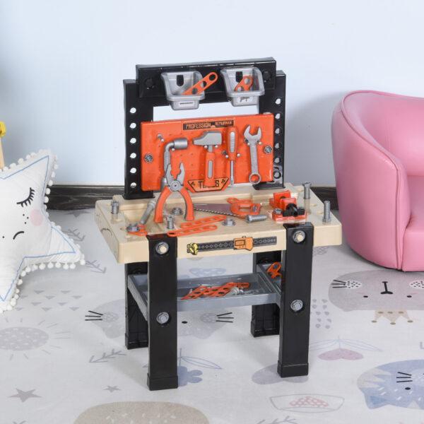 Banco da Lavoro Giocattolo con 64 Attrezzi per Bambini 3-6 Anni Arancione e Nero