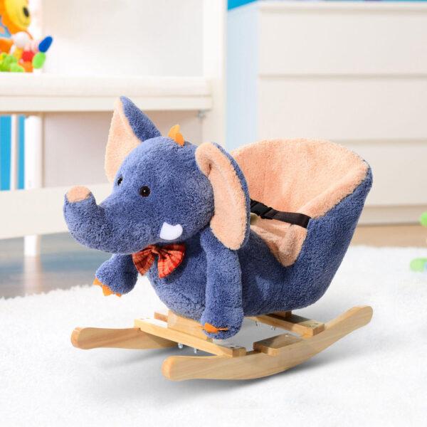 Elefante a Dondolo per Bambini, Blu, 60x33x45cm