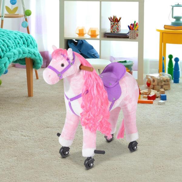 Cavallo con Ruote in Peluche Giocattolo con Suono per i Bambini 65 x 28 x 75cm Rosa
