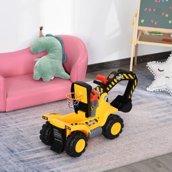 Escavatore Giocattolo per Bambini con Braccio Mobile Canestro e Palline Colorate Giallo e Nero