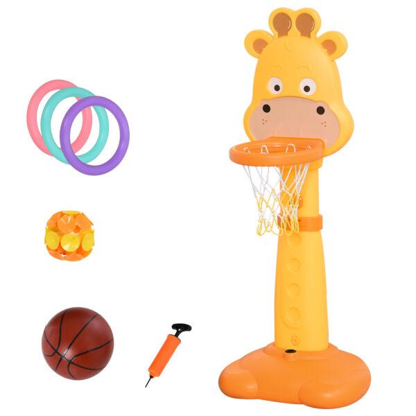 Centro Attività per Bambini a Forma di Giraffa con Canestro e Accessori Arancione