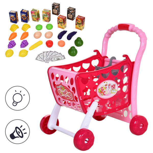 Carrello Giocattolo per Bambini +3 Anni con 38 Accessori Inclusi, Suoni e Luci Divertenti, Rosa, 41.5x33.5x48.5cm