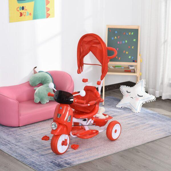 Triciclo Passeggino a Forma di Moto per Bambini 3-8 Anni con Tettuccio e Maniglione Rosso