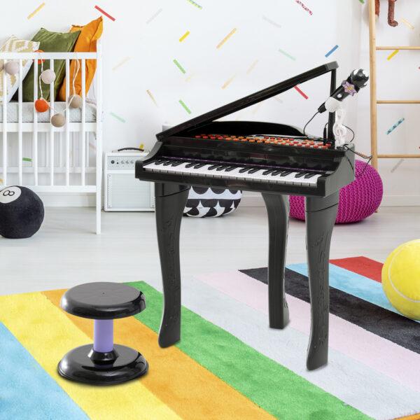 Mini Pianoforte Giocattolo per Bambini con Microfono e Sgabello, Nero