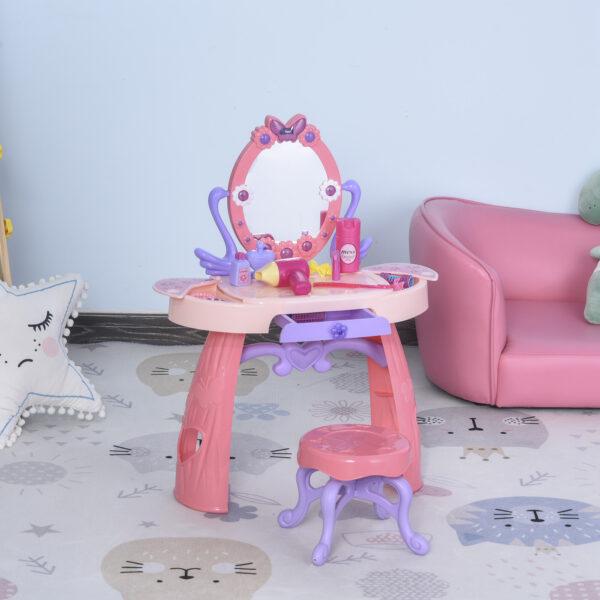 Postazione Trucco Giocattolo per Bambini 3+ Anni con Accessori Inclusi, Rosa