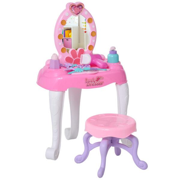 Postazione Trucco per Bambine 3+ Anni con Specchio Luci Suoni e Accessori Bianca e Rosa