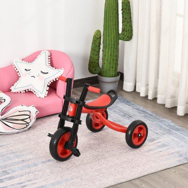 Triciclo per Bambini 3-6 Anni Rosso e Nero con Pedali e Sellino Regolabile