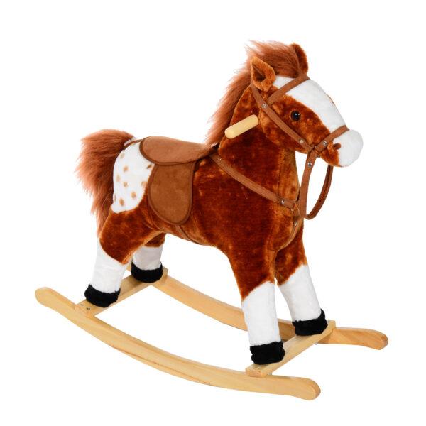 Cavallo a Dondolo in Peluche con Suoni per Bambini, Marrone