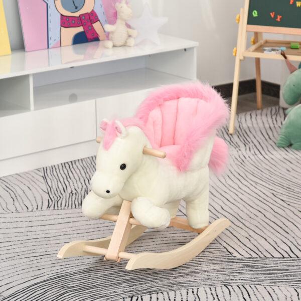 Cavallo a Dondolo Bianco e Rosa con Suoni e Struttura in Legno di Pioppo per Bambini 18-36 Mesi