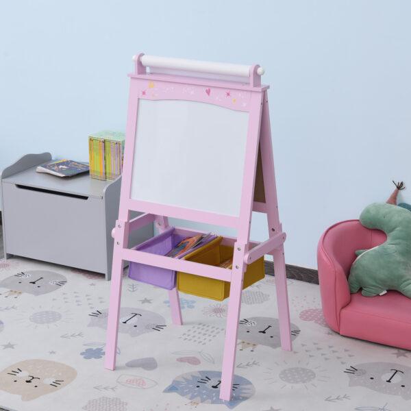 Lavagnetta con Cavalletto per Bambini 3 in 1 e con Rullo Fogli di Carta in Legno Rosa