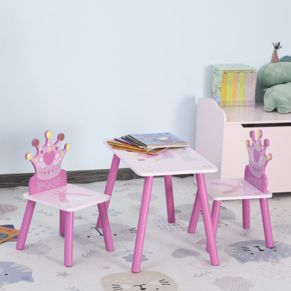 Set Tavolo e 2 Sedie Tema Principesse per Cameretta Bambini in Legno Rosa