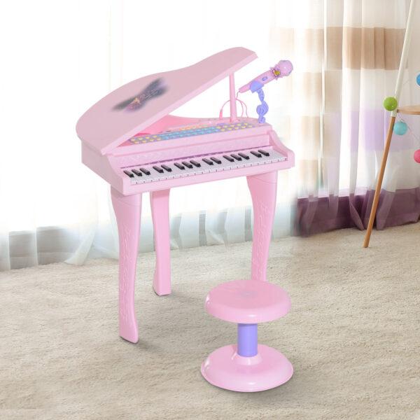 Mini Pianoforte Giocattolo per Bambini con Microfono e Sgabello, Rosa