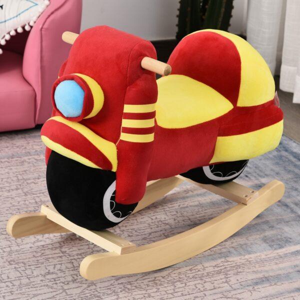 Dondolo per Bambini a Forma di Moto in Legno e Peluche Rosso e Giallo con Suoni Realistici