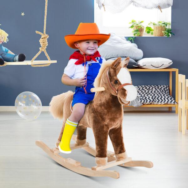 Cavallo a Dondolo in Legno Giocattolo Cavalcabile per Bambini