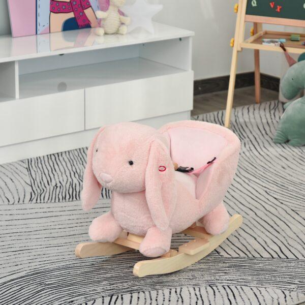 Dondolo Giocattolo a Forma di Coniglio Rosa per Bambini 18-36 Mesi