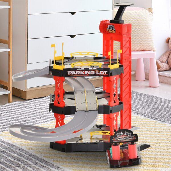 Pista Macchinine con 4 Auto Elicottero e Accessori Inclusi per Bambini 3+ Rossa e Nera