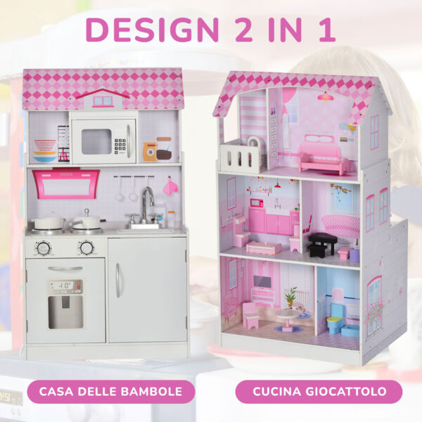 Casa delle bambole e cucina per bambini 2 in 1