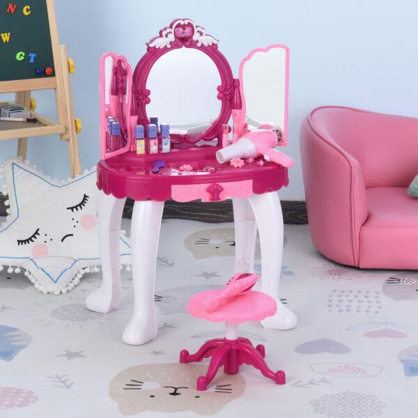 Postazione Trucco Giocattolo per Bambini 3-6 Anni Accessori Inclusi