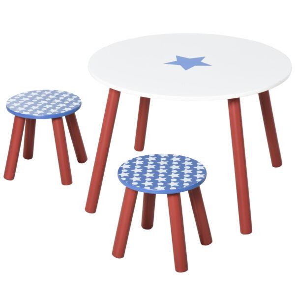 Set Tavolo e 2 Sgabelli Decorazione con Stelle per Cameretta Bambini 3-8 Anni in Legno Blu Rosso e Bianco