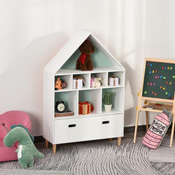 Libreria Scaffale Portagiochi per Cameretta Bimbi con Mensole a Cubi, Bianca, Azzurra e Rosa