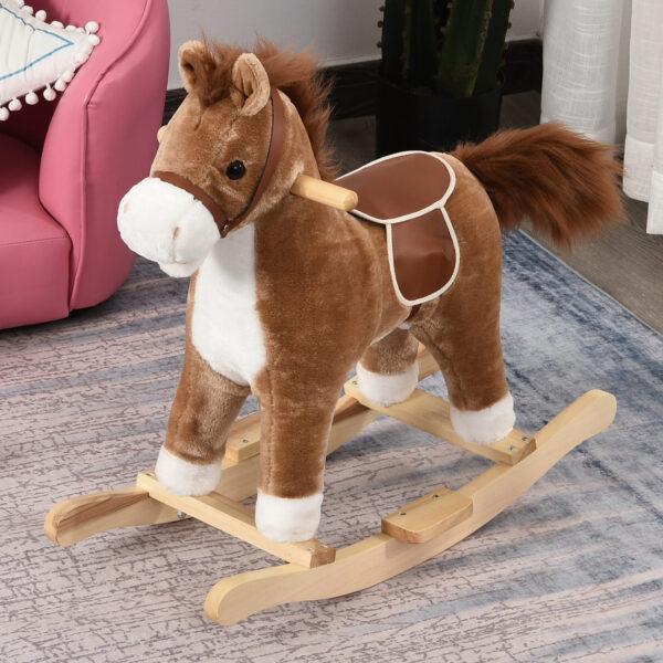 Cavallo a Dondolo Giocattolo con Suoni Realistici per Bambini 36-72 Mesi, Marrone