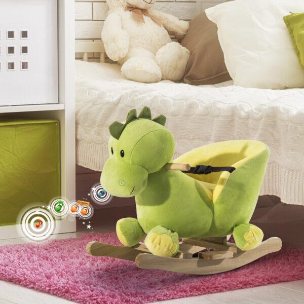 Drago a Dondolo in Legno per i Bambini, Verde e Giallo