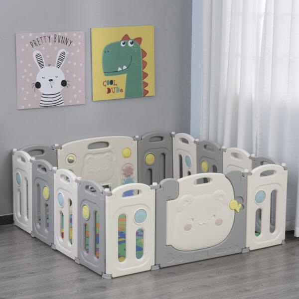 Box Recinto per Bambini +6 Mesi con 14 Pannelli a Incastro e Serratura, Grigio e Bianco