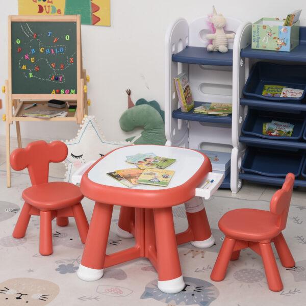 Set Tavolo con 2 Sedie per Bambini e Piano di Lavoro con Lavagnetta Bianca