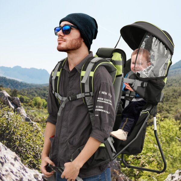 Zaino Porta Bimbo per Trekking Pieghevole e Impermeabile Verde