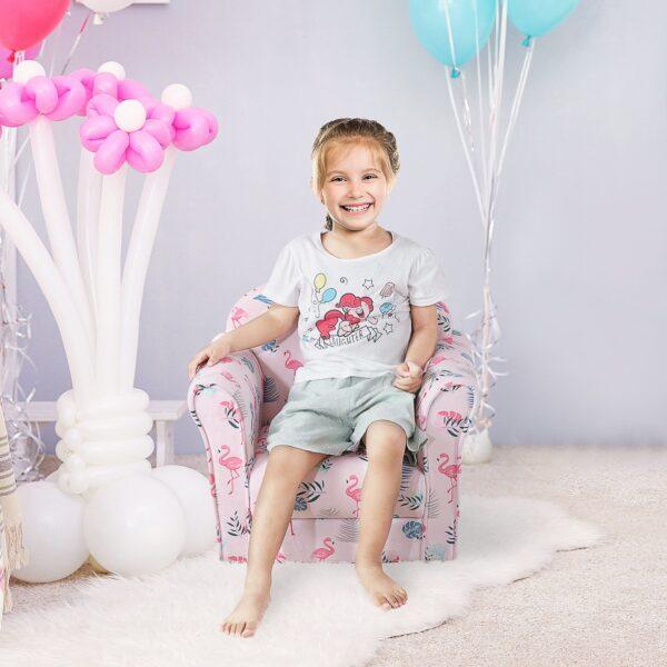 Poltroncina per Bambini 3-6 anni con Imbottitura in Gommapiuma Fantasia Fenicotteri Rosa