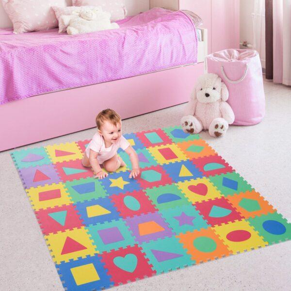 Tappeto Puzzle con Forme Geometriche 36 Tessere 31x31cm, Colorato