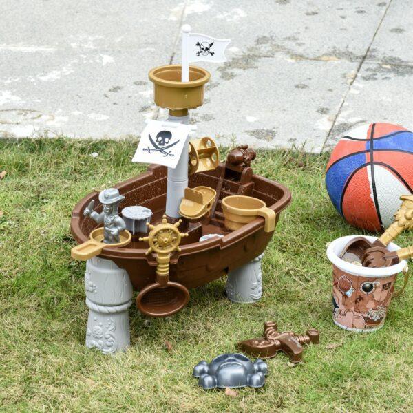 Nave dei Pirati Giocattolo per Bambini con 26 Accessori da Spiaggia