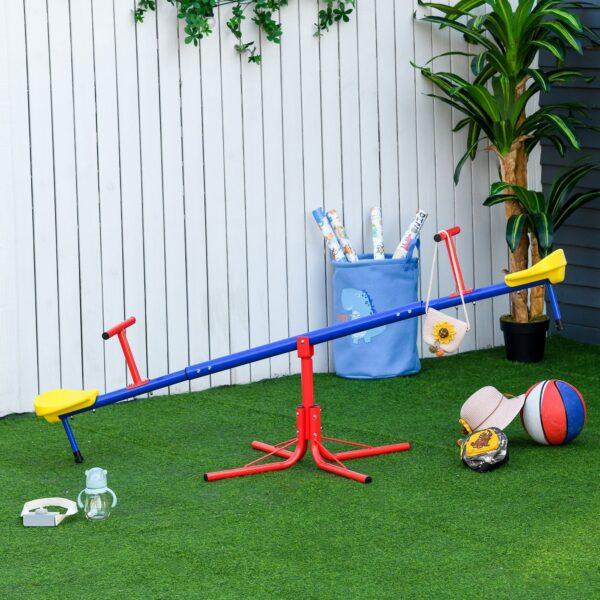 Altalena per Bambini Doppia a Bilico Girevole a 360° in Metallo e PP, Età 3-8 Anni, 182x77x43cm Multicolore