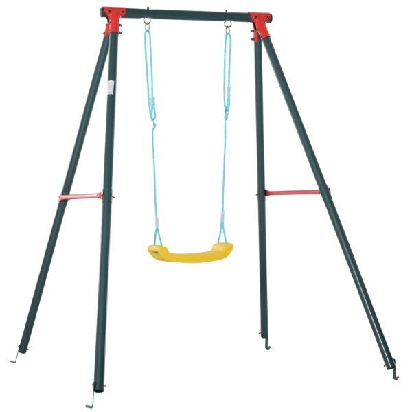 Altalena da Giardino per Bambini 6-12 Anni con Altezza Regolabile, in Metallo e PE, 155x160x180cm, Multicolore