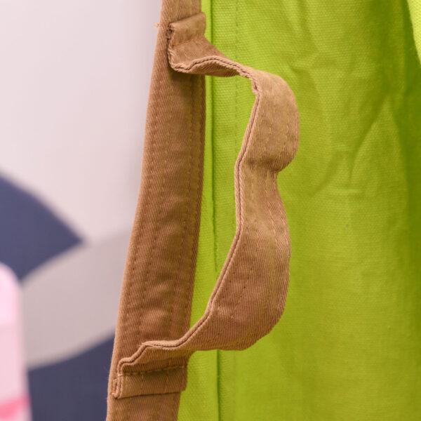 Amaca per Bambini da Interno o Esterno, Sedia Sospesa a Sacco in Cotone Verde e Marrone, 75x55x140cm