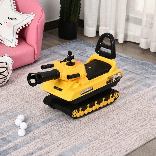 Carro Armato Bambini con Cannone Spara Palline e Vano Contenitore, Giochi Cavalcabili per Bambini +3 Anni, Giallo