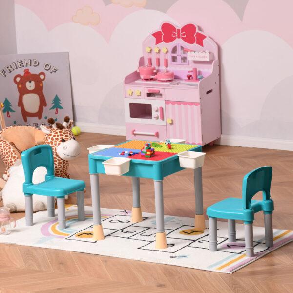 Set Tavolo Contenitore con 2 Sedie e 4 Scatole Portagiochi per Bambini