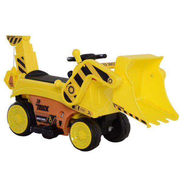 Escavatore Giocattolo Cavalcabile con Pala e Braccio Elettrico per Bambini Giallo
