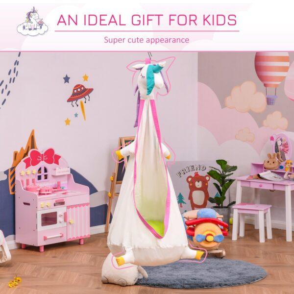 Sedia Sospesa per Bambini a Forma di Unicorno per Interno ed Esterno