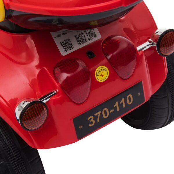 Moto Elettrica per Bambini 3-6 Anni con Luci Suoni e 3 Ruote Stabili Rossa